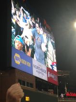 Caleb on the screen at braves