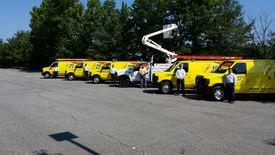 Fleet of vans with the guys
