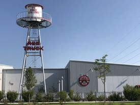 Red truck brewery patio   water tower signs