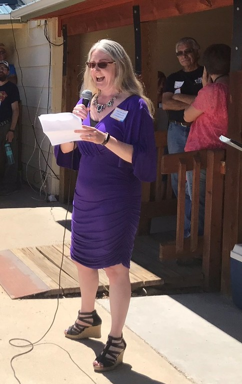 Tara, President/CEO, speaking to employees, clients, Board members, and the public at CCI's annual meeting in Cortez.