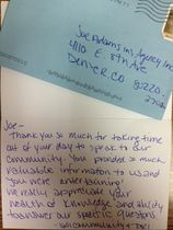 Thank you note from 1601 colorado blvd.